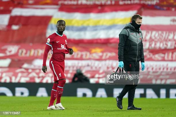 Naby Keita of Liverpool is substituted off following an injury during the Premier League match between Liverpool and Leicester City at Anfield on...