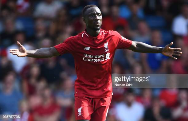 Naby Keita of Liverpool reacts during a preseason friendly match between Bury and Liverpool at Gigg Lane on July 14 2018 in Bury England