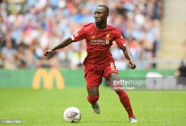 Naby Keita of Liverpool runs with the ball during the FA Community Shield match between Liverpool and Manchester City at Wembley Stadium on August...