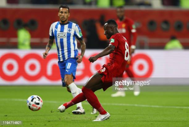 Naby Keita of Liverpool scores his team's first goal during the FIFA Club World Cup semifinal match between Monterrey and Liverpool at Education City...