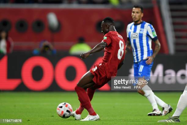 Naby Keita of Liverpool scores his team's first goal during the FIFA Club World Cup semi-final match between Monterrey and Liverpool FC at Khalifa...