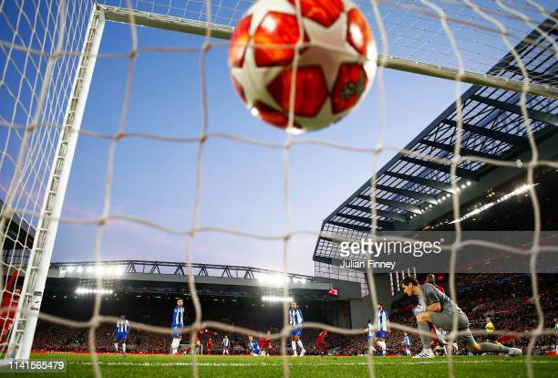 Naby Keita of Liverpool scores his team's first goal past Iker Casillas of FC Porto during the UEFA Champions League Quarter Final first leg match...