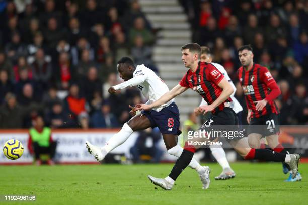 Naby Keita of Liverpool scores his team's second goal during the Premier League match between AFC Bournemouth and Liverpool FC at Vitality Stadium on...