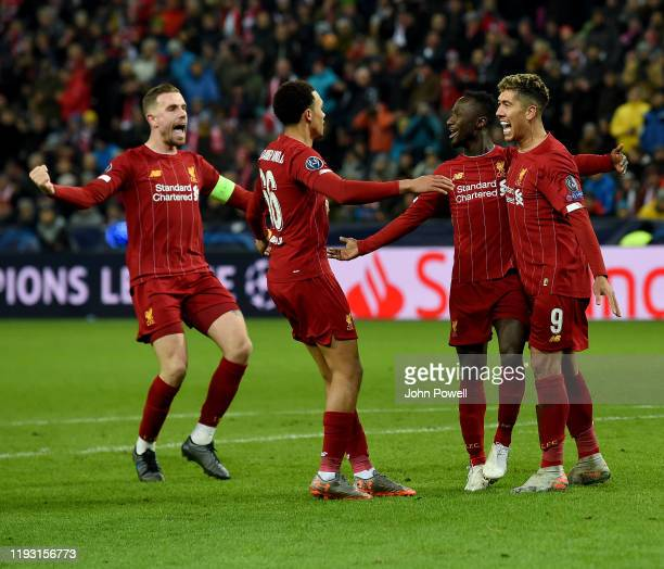 Naby Keita of Liverpool scores the opening goal and celewbrates during the UEFA Champions League group E match between RB Salzburg and Liverpool FC...