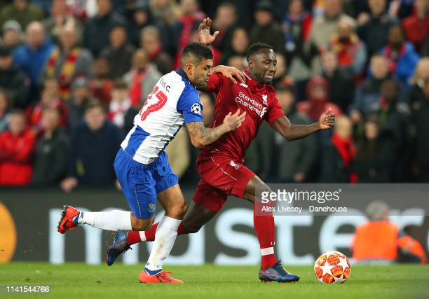 Naby Keita of Liverpool takes on Jesus Corona of Porto during the UEFA Champions League Quarter Final first leg match between Liverpool and Porto at...