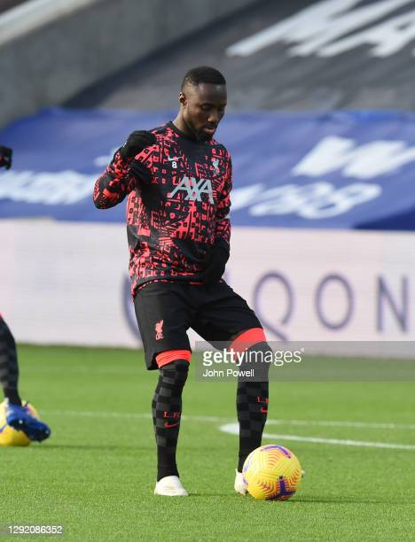 Naby Keita of Liverpool training before the Premier League match between Crystal Palace and Liverpool at Selhurst Park on December 19, 2020 in...