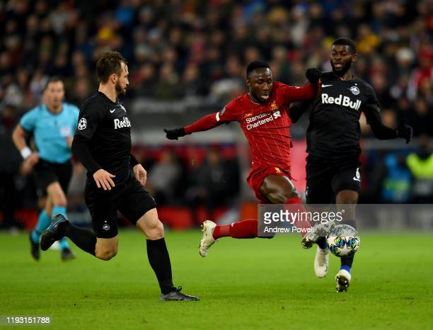Naby Keita of Liverpool with Dominik Szoboszlai during the UEFA Champions League group E match between RB Salzburg and Liverpool FC at Red Bull Arena...