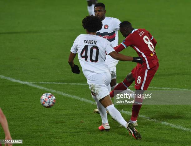 Naby Keita of Liverpool with Jens-Lys Cajuste during the UEFA Champions League Group D stage match between FC Midtjylland and Liverpool FC at MCH...