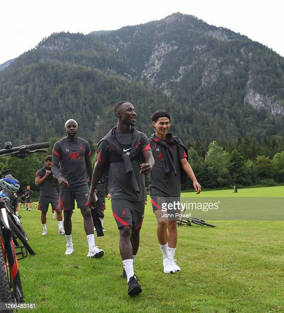 Naby Keita of Liverpool with Takumi Minamino of Liverpool and Divock Origi of Liverpool during a training session on August 15 2020 in Salzburg...