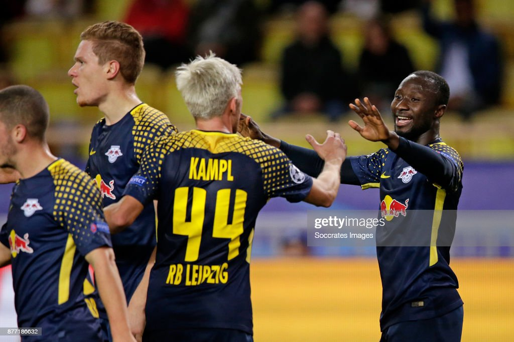 Naby Keita of RB Leipzig celebrates 1-4 with Kevin Kampl of RB Leipzig during the UEFA Champions League match between AS Monaco v RB Leipzig at the Stade Louis II on November 21, 2017 in Monaco Monaco
