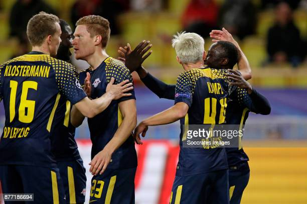 Naby Keita of RB Leipzig celebrates 14 with Lukas Klostermann of RB Leipzig Marcel Halstenberg of RB Leipzig Kevin Kampl of RB Leipzig during the...