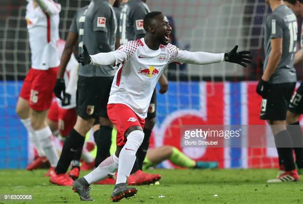 Naby Keita of RB Leipzig celebrates after scoring his team's second goal during the Bundesliga match between RB Leipzig and FC Augsburg at Red Bull...
