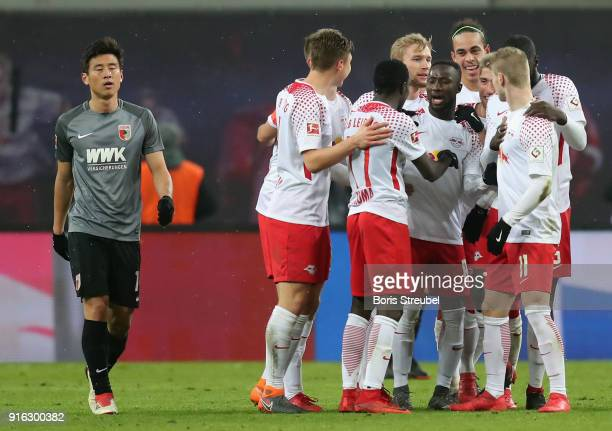 Naby Keita of RB Leipzig celebrates with team mates after scoring his team's second goal during the Bundesliga match between RB Leipzig and FC...
