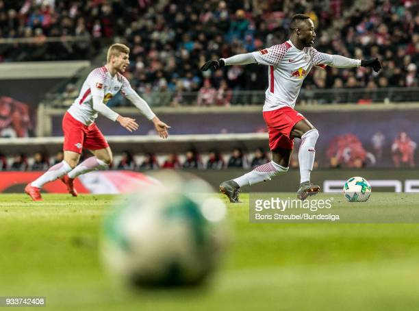 Naby Keita of RB Leipzig in action during the Bundesliga match between RB Leipzig and FC Bayern Muenchen at Red Bull Arena on March 18 2018 in...