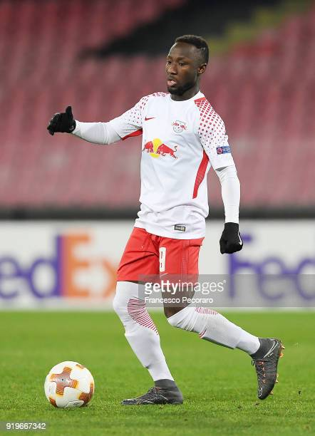 Naby Keita of RB Leipzig in action during UEFA Europa League Round of 32 match between Napoli and RB Leipzig at the Stadio San Paolo on February 15...