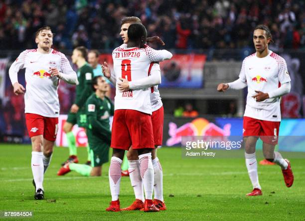 Naby Keita of RB Leipzig is congratulated by Timo Werner of RB Leipzig after scoring a goal during the Bundesliga match between RB Leipzig and SV...