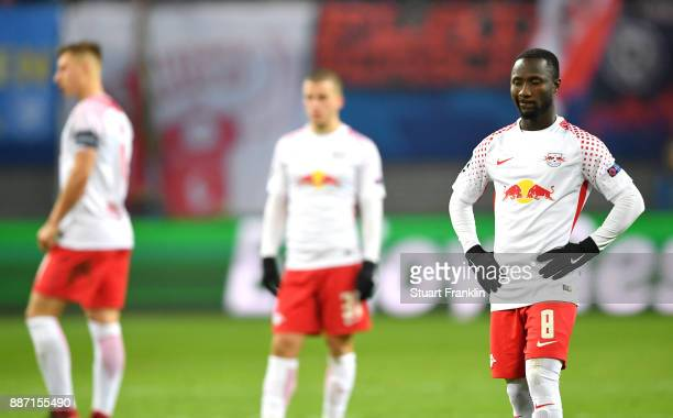 Naby Keita of RB Leipzig look dejected during the UEFA Champions League group G match between RB Leipzig and Besiktas at Red Bull Arena on December 6...