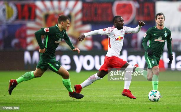 Naby Keita of RB Leipzig makes a break during the Bundesliga match between RB Leipzig and SV Werder Bremen at Red Bull Arena on November 25 2017 in...