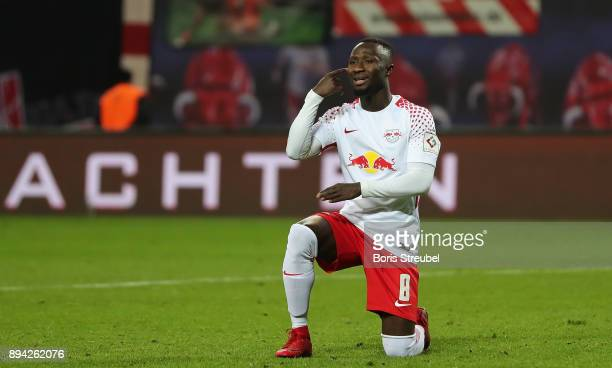 Naby Keita of RB Leipzig reacts during the Bundesliga match between RB Leipzig and Hertha BSC at Red Bull Arena on December 17 2017 in Leipzig Germany