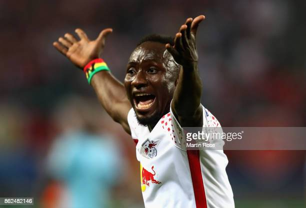Naby Keita of RB Leipzig reacts during the UEFA Champions League group G match between RB Leipzig and FC Porto at Red Bull Arena on October 17 2017...