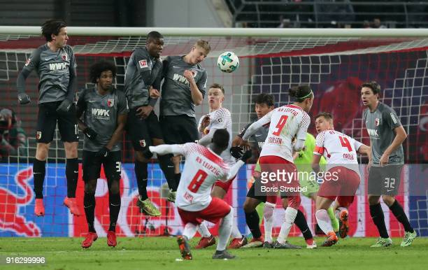 Naby Keita of RB Leipzig scores his team's second goal with a freekick during the Bundesliga match between RB Leipzig and FC Augsburg at Red Bull...