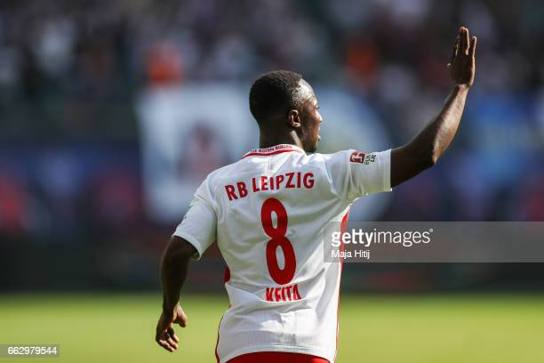 Naby Keitab celebrates after scoring a goal to make it 10 the Bundesliga match between RB Leipzig and SV Darmstadt 98 at Red Bull Arena on April 1...