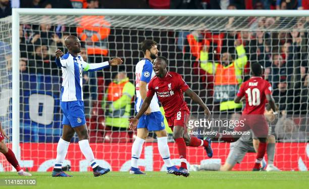 Naby Keïta of Liverpool celebrates after scoring the opening goal during the UEFA Champions League Quarter Final first leg match between Liverpool...