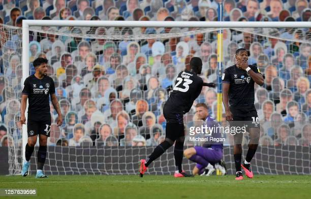Naby Sarr of Charlton Athletic and Chucks Aneke of Charlton Athletic show their disappointment after Leeds scored a third goal during the Sky Bet...
