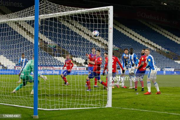 Naby Sarr of Huddersfield Town scores a goal during the Sky Bet Championship match between Huddersfield Town and Blackburn Rovers at John Smith's...