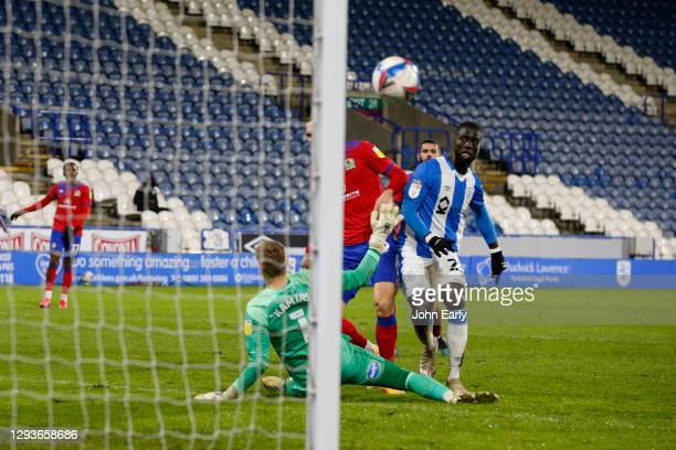 Naby Sarr of Huddersfield Town scores the winning goal during the Sky Bet Championship match between Huddersfield Town and Blackburn Rovers at John...