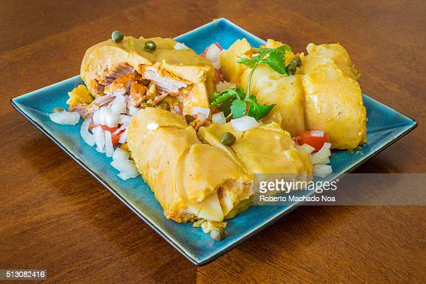 Nacatamales or naca tamales a corn dough dish traditional of Honduras and Nicaragua The boiled dough is stuffed with different meats