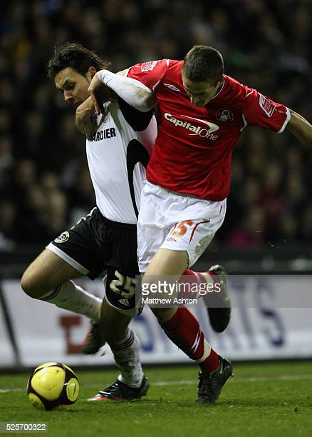 Nacer Barazite of Derby County and Chris Cohen of Nottingham Forest