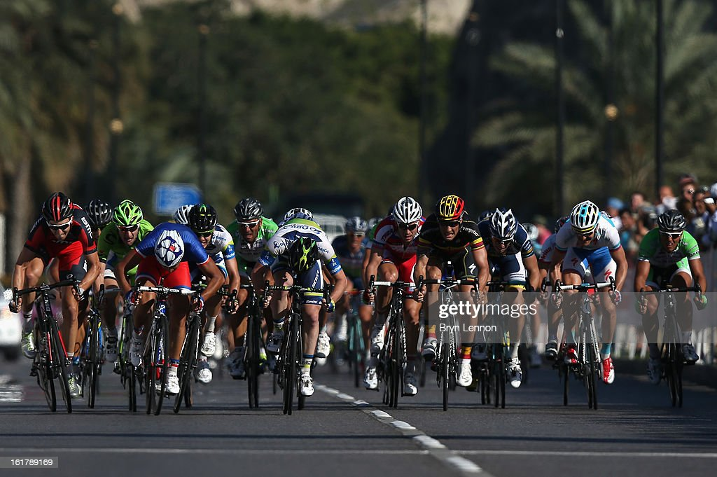 Nacer Bouhanni of France and FDJ leads the sprint for the finish line to win stage six of the 2013 Tour of Oman from Hawit Nagam Park to the Matrah Corniche on February 16, 2013 in Matrah, Oman.