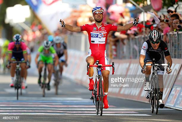 Nacer Bouhanni of France and FDJfr celebrates after winning the tenth stage of the 2014 Giro d'Italia a 173km stage between Modena and Salsomaggiore...