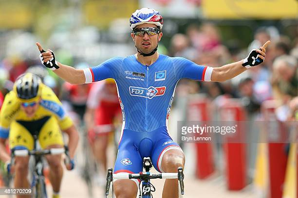 Nacer Bouhanni of France and FDJ.fr celebrates winning stage one of the Cirterium International from Porto Vecchio to Porto Vecchio on March 29, 2014...