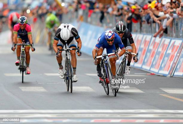 Nacer Bouhanni of France and FDJ.fr wins the fourth stage of the 2014 Giro d'Italia, a 112km stage between Giovinazzo and Bari on May 13, 2014 in...