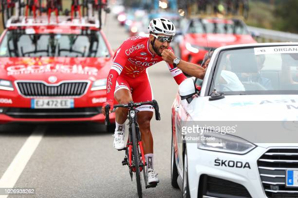 Nacer Bouhanni of France and Team Cofidis taking a pill for illness / Medical / Doctor / Car / during the 73rd Tour of Spain 2018, Stage 11 a 207,8km...