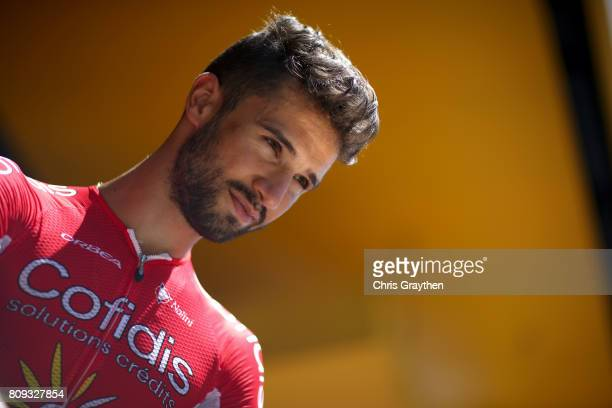 Nacer Bouhanni of France riding for Confidis Solutions Credits stands on stage prior to stage five of the 2017 Le Tour de France a 1605km stage from...