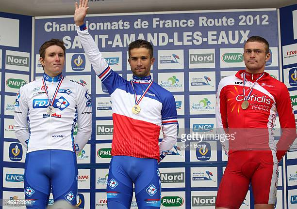 Nacer Bouhanni wins the French Champion title in front of teammate Arnaud Demare and Adrien Petit at the 2012 French National Cycling Championships...