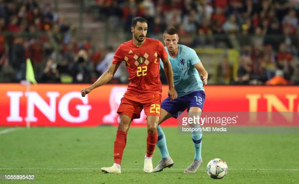 Nacer Chadli and Hans Hateboer fight for the ball during the International Friendly match between Belgium and The Netherlands on October 16 2018 in...