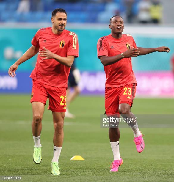 Nacer Chadli and Michy Batshuayi of Belgium warm up prior to the UEFA Euro 2020 Championship Group B match between Belgium and Russia on June 12,...