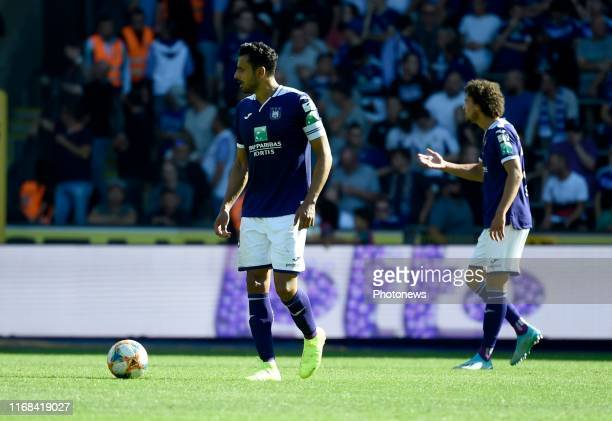 Nacer Chadli forward of Anderlecht and Philippe Sandler defender of Anderlecht with Pieter Gerkens midfielder of Anderlecht during the Jupiler Pro...