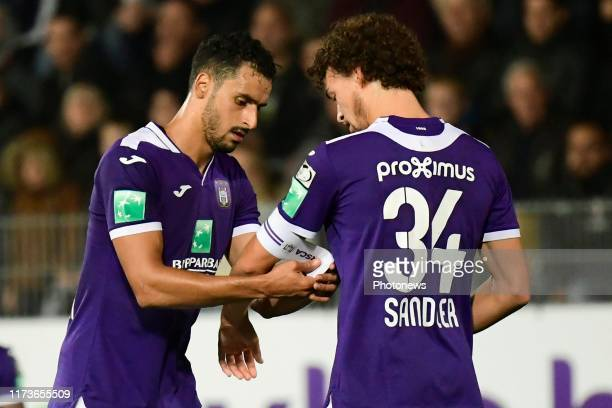 Nacer Chadli midfielder of Anderlecht and Philippe Sandler defender of Anderlecht pictured during the Jupiler Pro League match between Sporting...