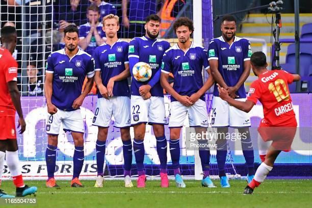 Nacer Chadli midfielder of Anderlecht, Michel Vlap midfielder of Anderlecht, Elias Cobbaut defender of Anderlecht, Killian Sardella defender of...