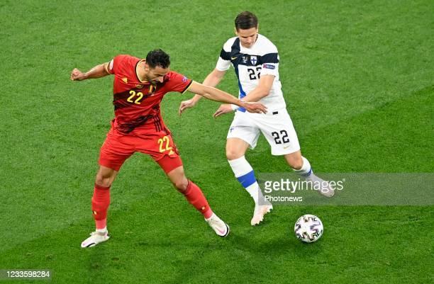 Nacer Chadli midfielder of Belgium & Jukka Raitala defender of Finland during the 16th UEFA Euro 2020 Championship Group B match between Finland and...