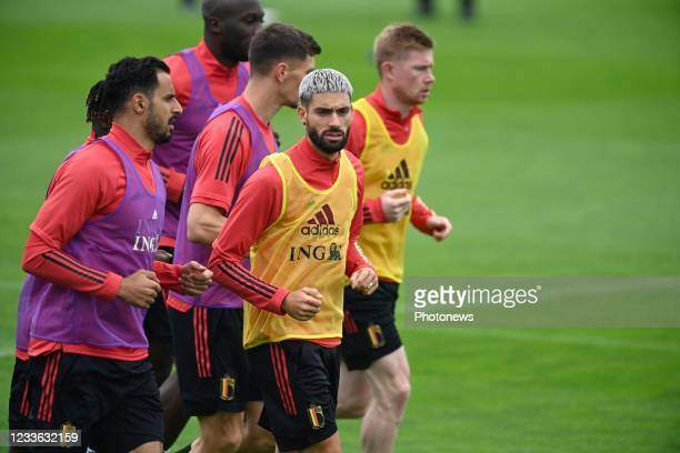 Nacer Chadli midfielder of Belgium & Yannick Carrasco forward of Belgium pictured during a training session of the Belgian National Football team at...