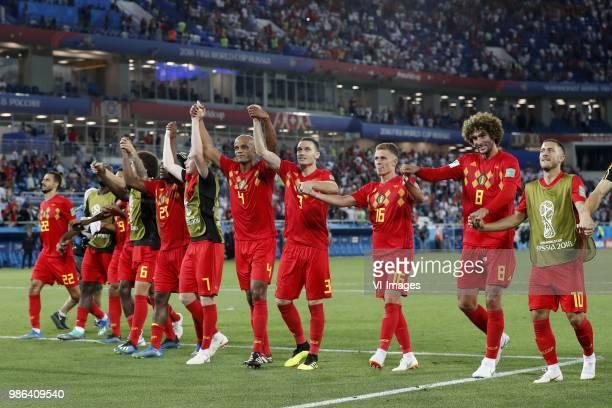 Nacer Chadli of Belgium Axel Witsel of Belgium Michy Batshuayi of Belgium Kevin De Bruyne of Belgium Vincent Kompany of Belgium Thomas Vermaelen of...