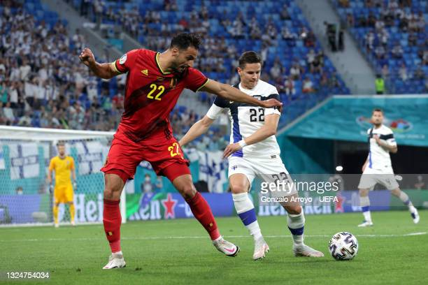 Nacer Chadli of Belgium battles for possession with Jukka Raitala of Finland during the UEFA Euro 2020 Championship Group B match between Finland and...