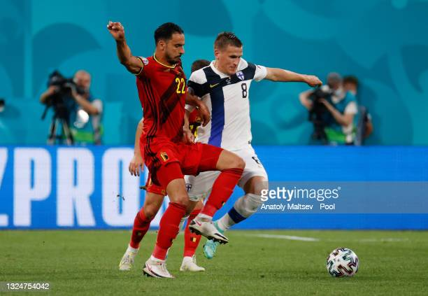 Nacer Chadli of Belgium battles for possession with Robin Lod of Finland during the UEFA Euro 2020 Championship Group B match between Finland and...