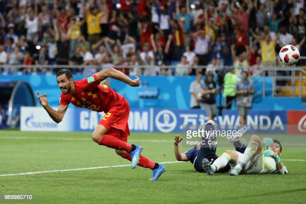 Nacer Chadli of Belgium celebrates after scoring his team's third goal during the 2018 FIFA World Cup Russia Round of 16 match between Belgium and...